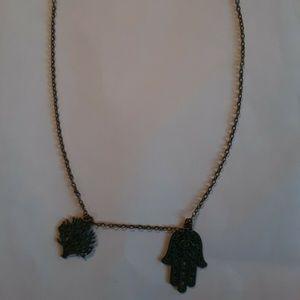 "Jewelry - Hamsa & Tree Of Life Pendant Necklace 24"" Chain"